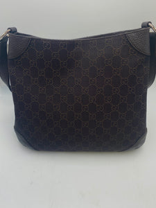 Gucci GG Monogram Canvas Messenger Bag with Leather Trim