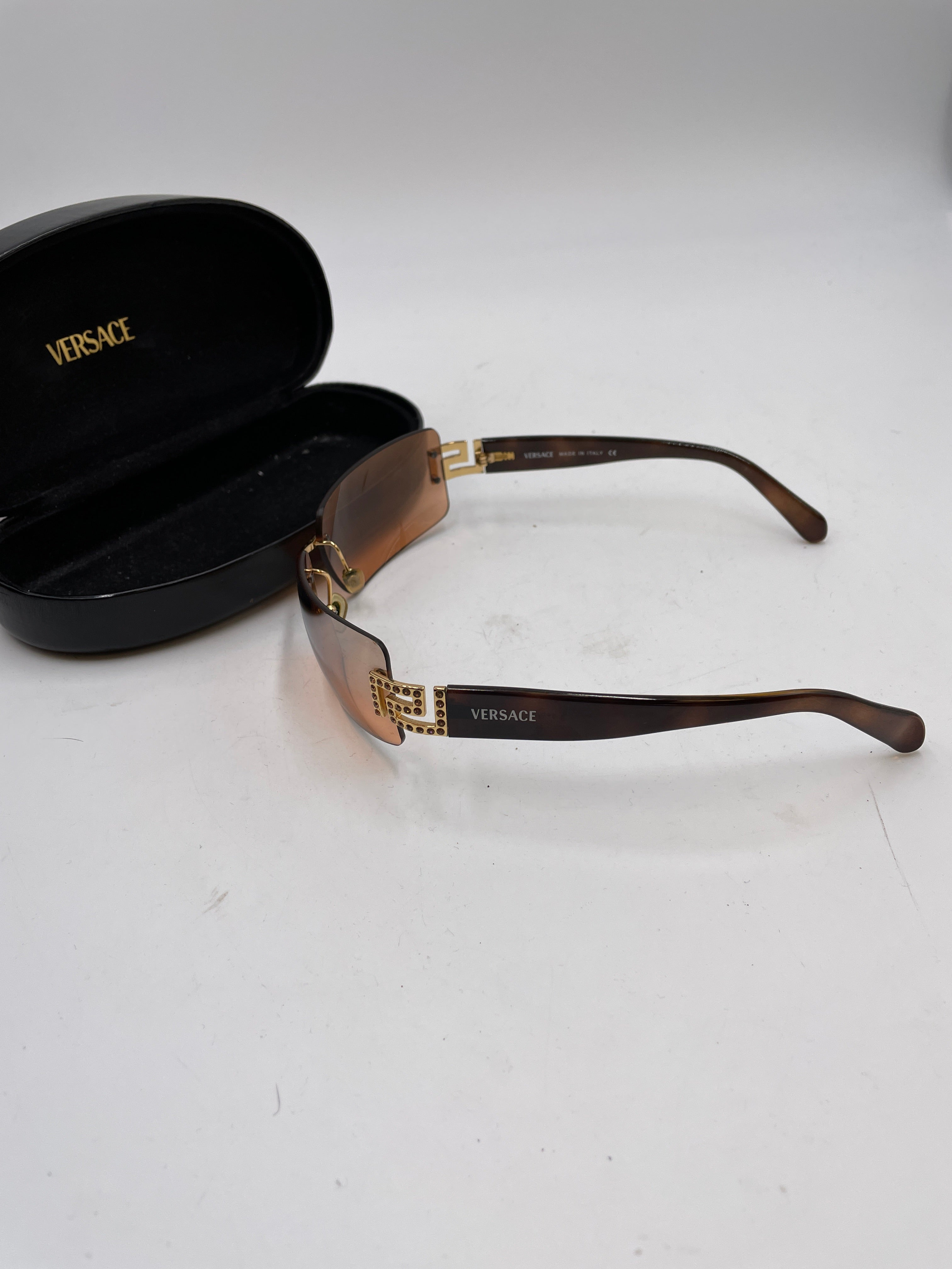 Versace Square Rim With Bling Detailing Sunglasses