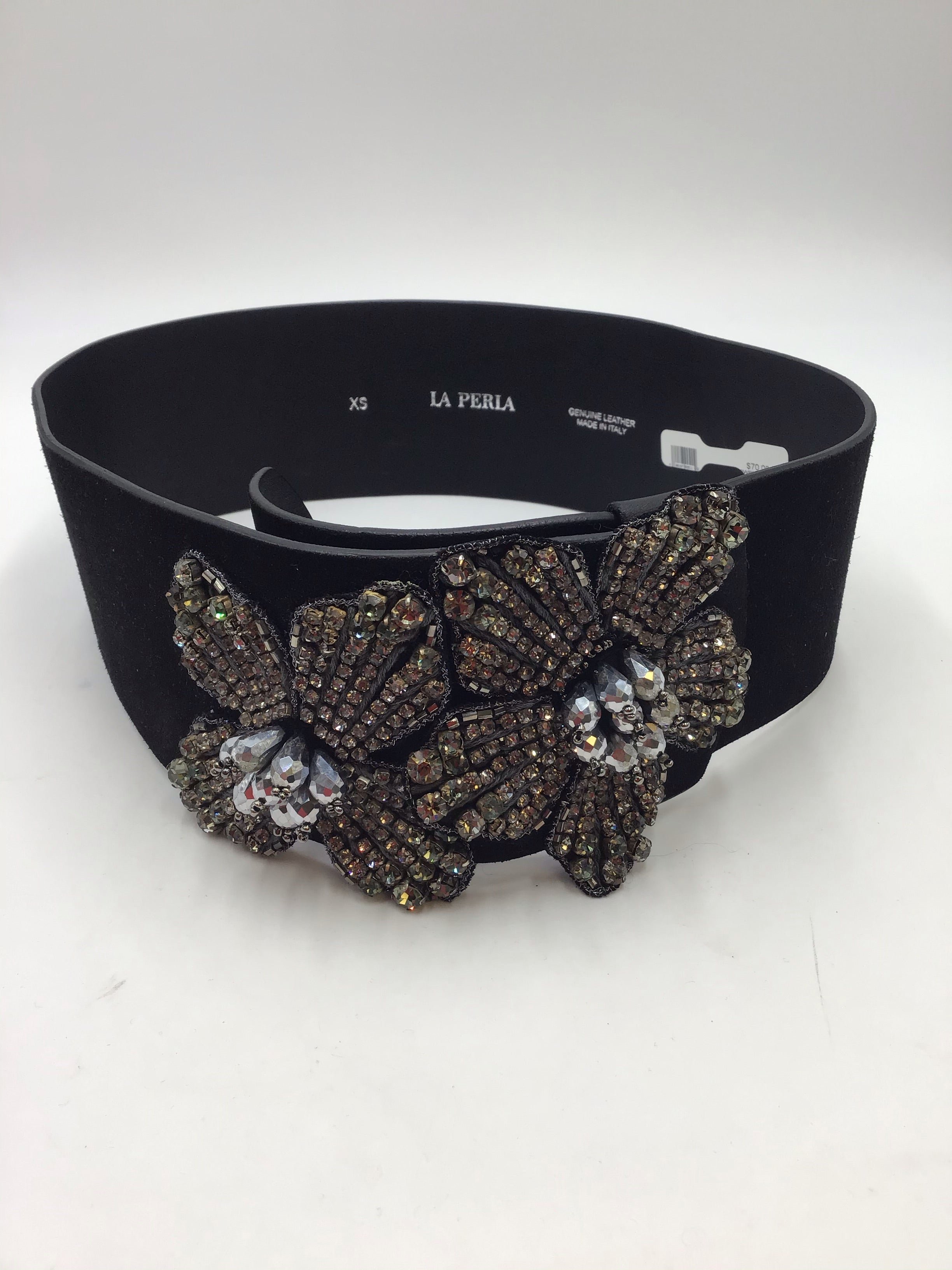 LaPerla Black suede waist belt