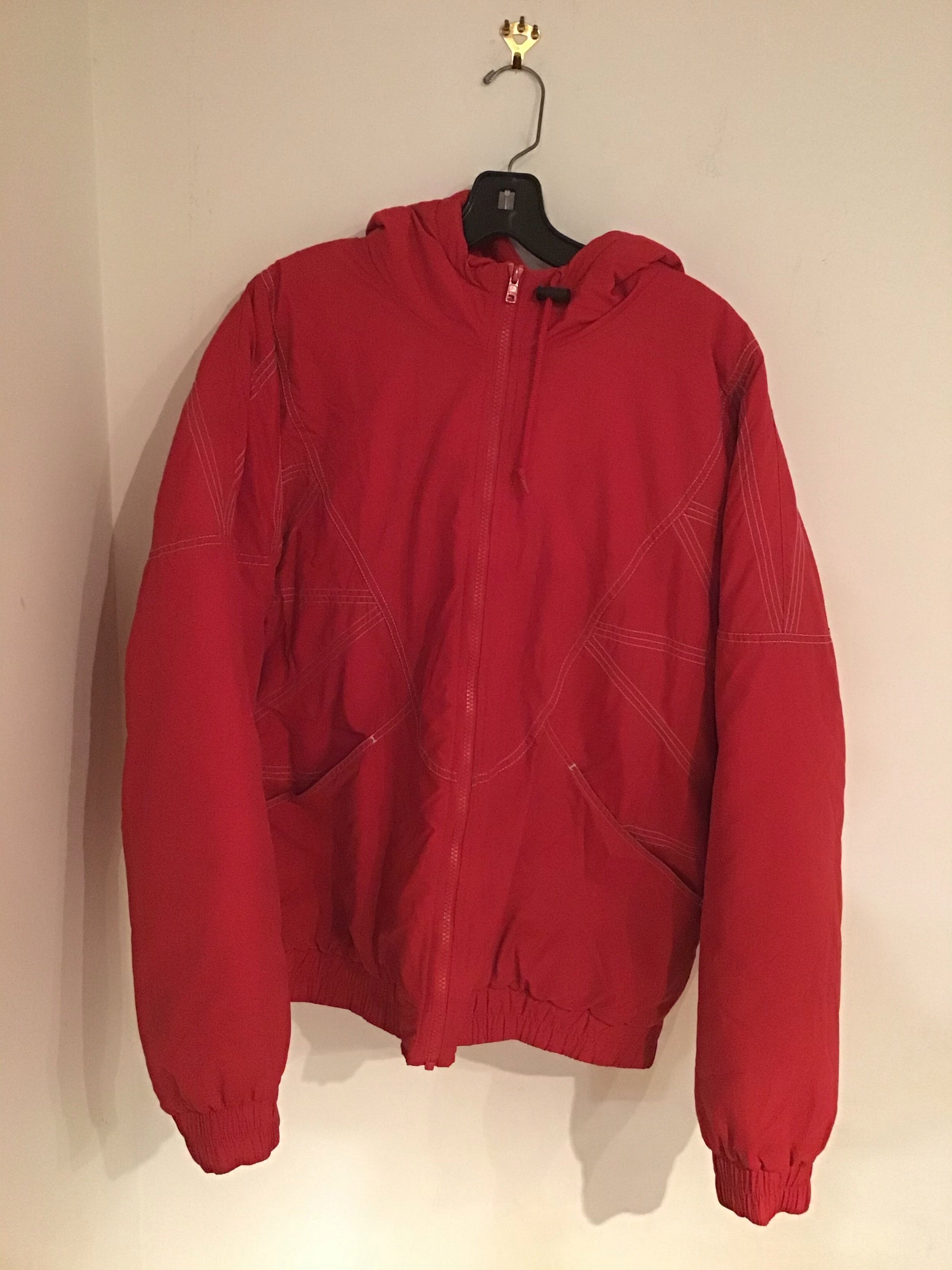 Supreme men's windbreaker coat in bold red