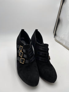 Tory Burch Black Buckle Wedged Ankle Boots