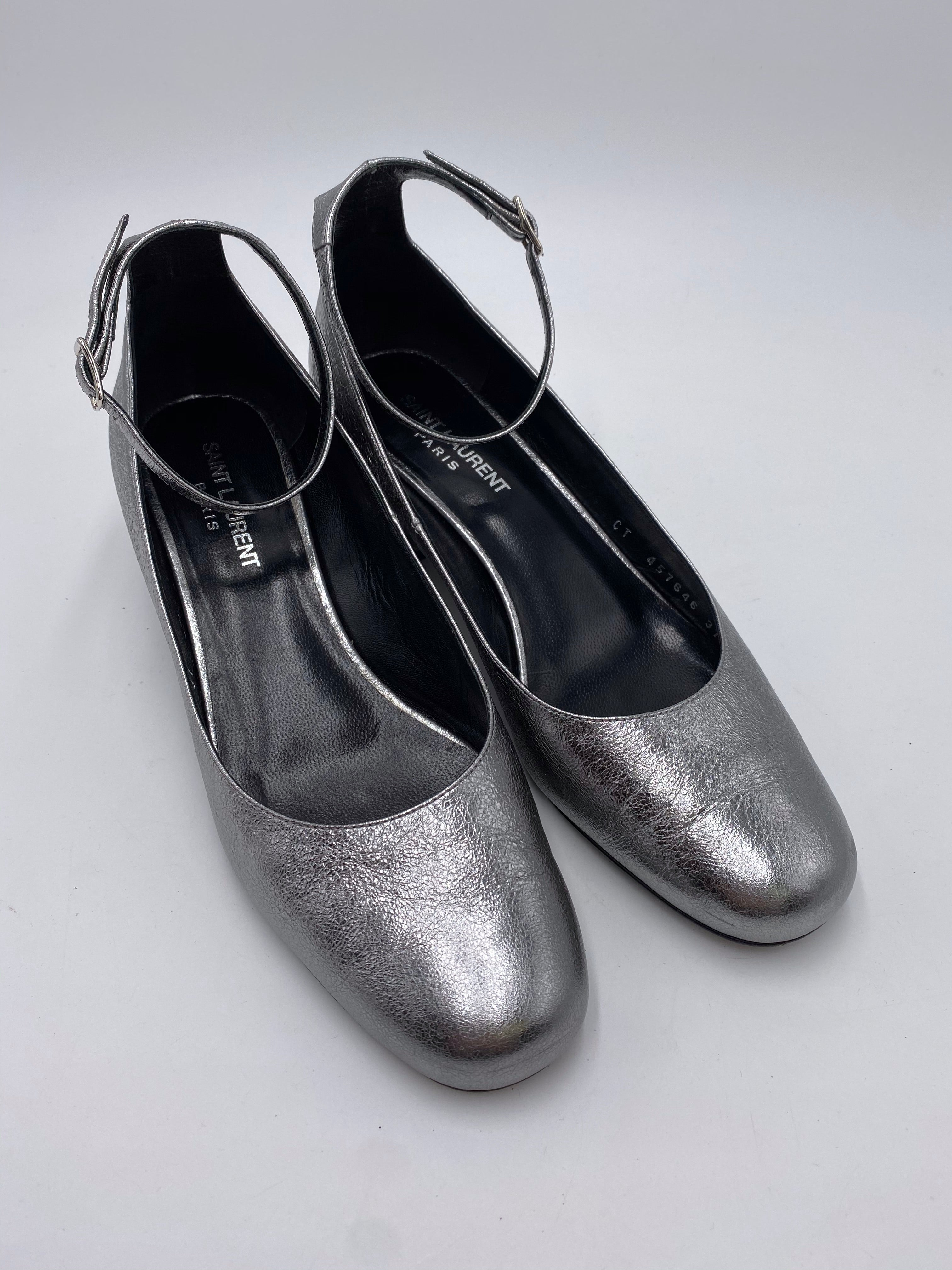 Saint Laurent Silver Metallic Leather Ankle Strap Heels