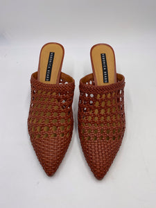 Veronica Beard Woven Leather Pointed Toe Mules - Size 11