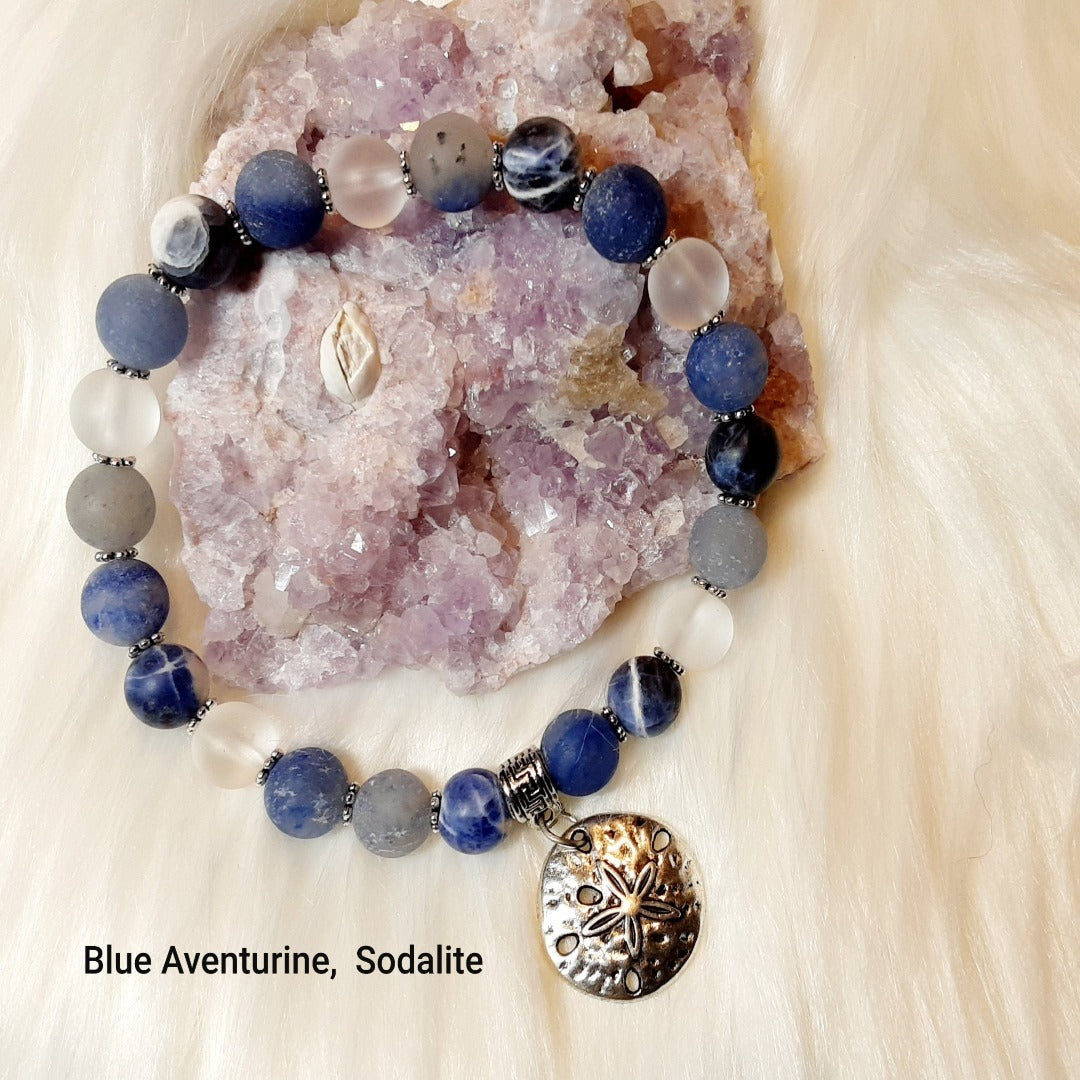 Aventurine- Blue frosted aventurine & Sodalite Bracelet with silver sand dollar and accents