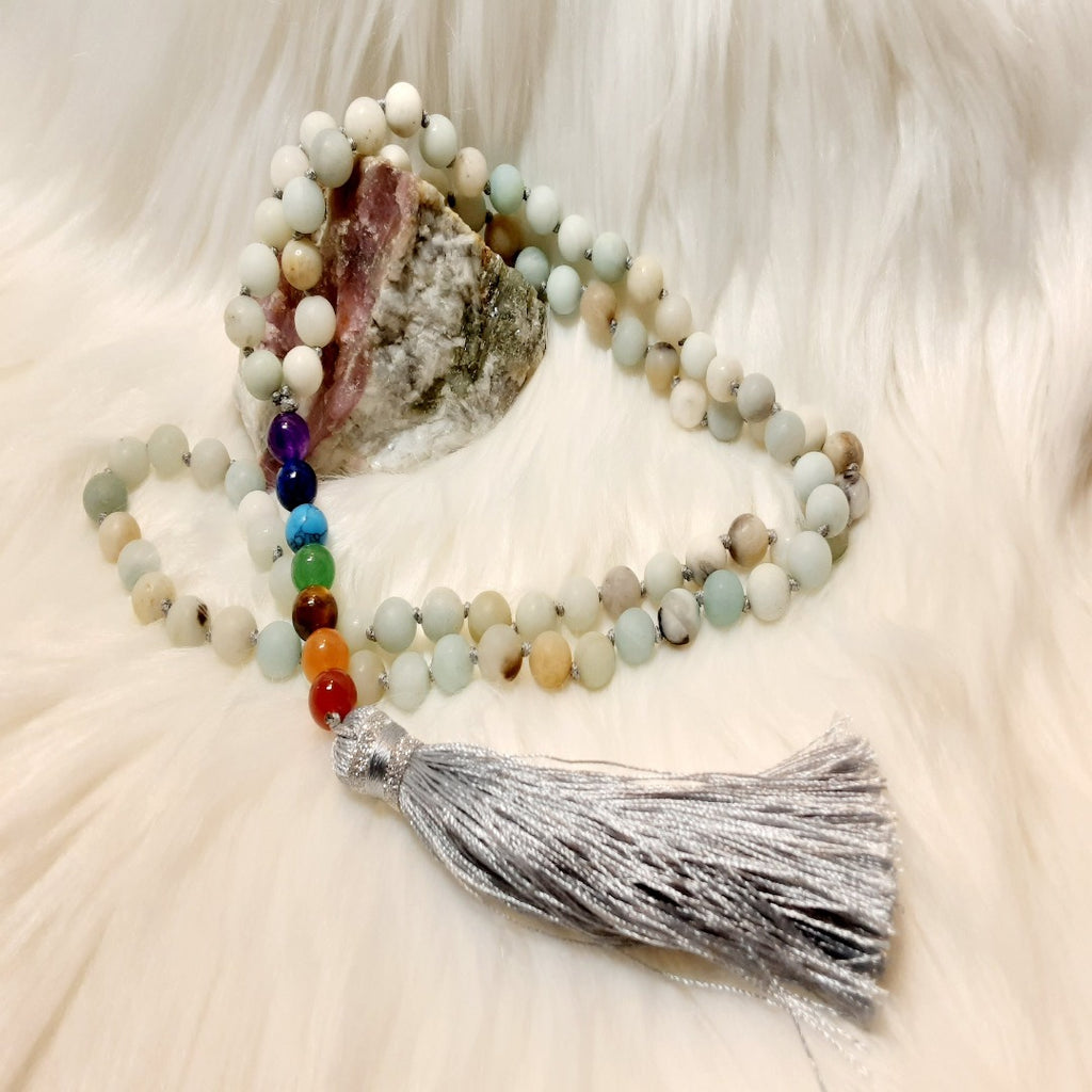 Amazonite with Chakra Mala Bead Necklace