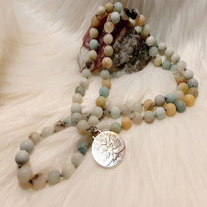 Amazonite Mala Necklace with Tree of Life