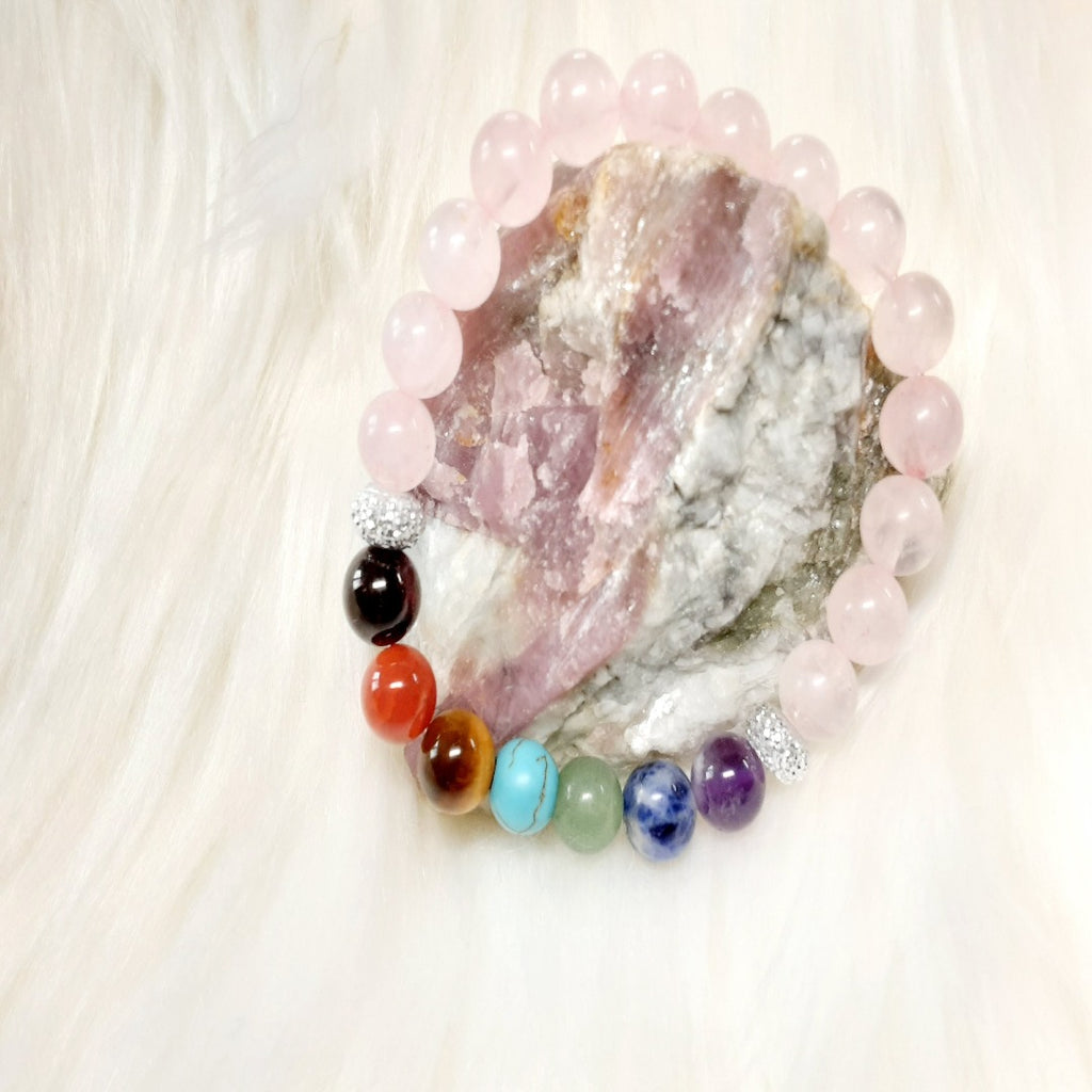Chakra Bracelet 7 chakra beads with pink quartz