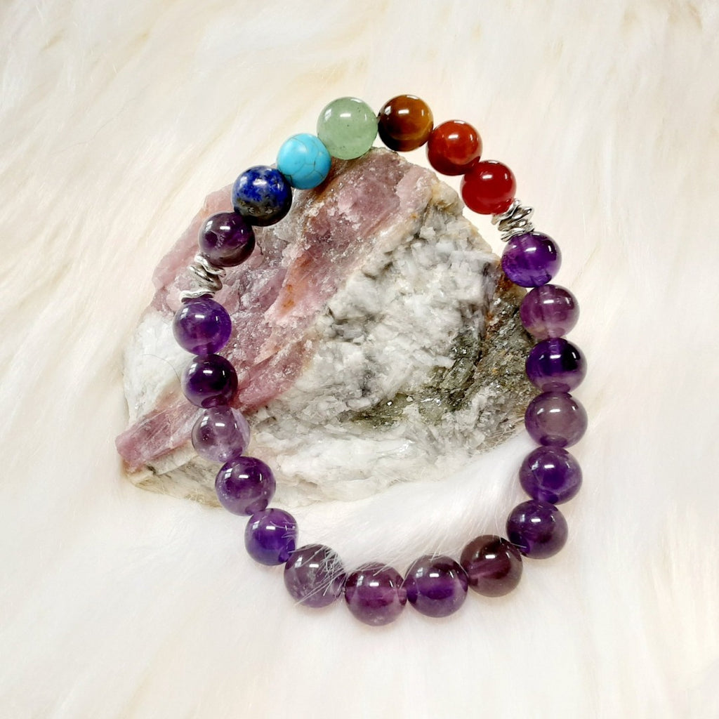 Chakra Bracelet 7 chakra braclet finished off with genuine amethyst