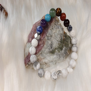 Chakra Bracelet a 7 chakra bracelet with frosted howlite and silver accents