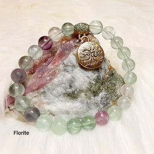 Fluorite Bracelet with tree of life charm