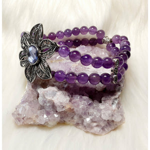 Amethyst Bracelet - a double strand of beads with a gorgeous flower accent