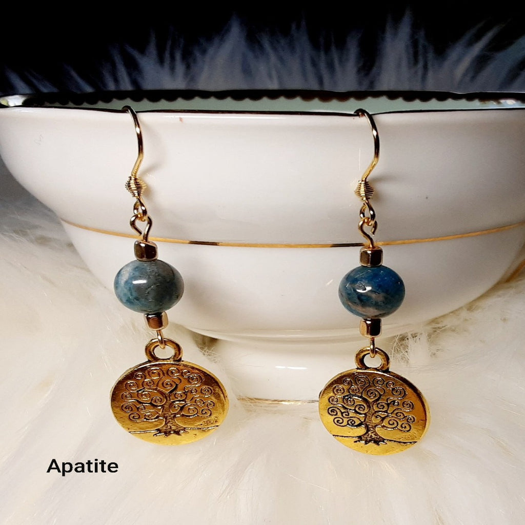 Apatite Earrings with gold accents and tree of life