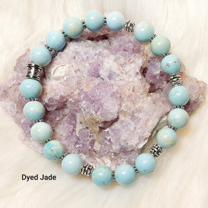 Jade Bracelet - Dyed Turquoise Jade with silver accents