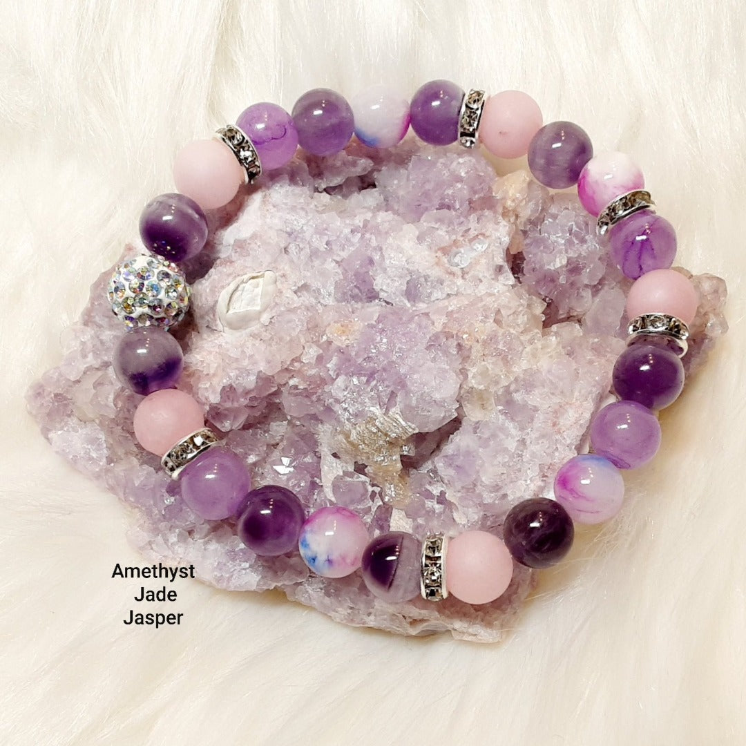 Amethyst, Jade and Jasper Bracelet with stunning silver bling