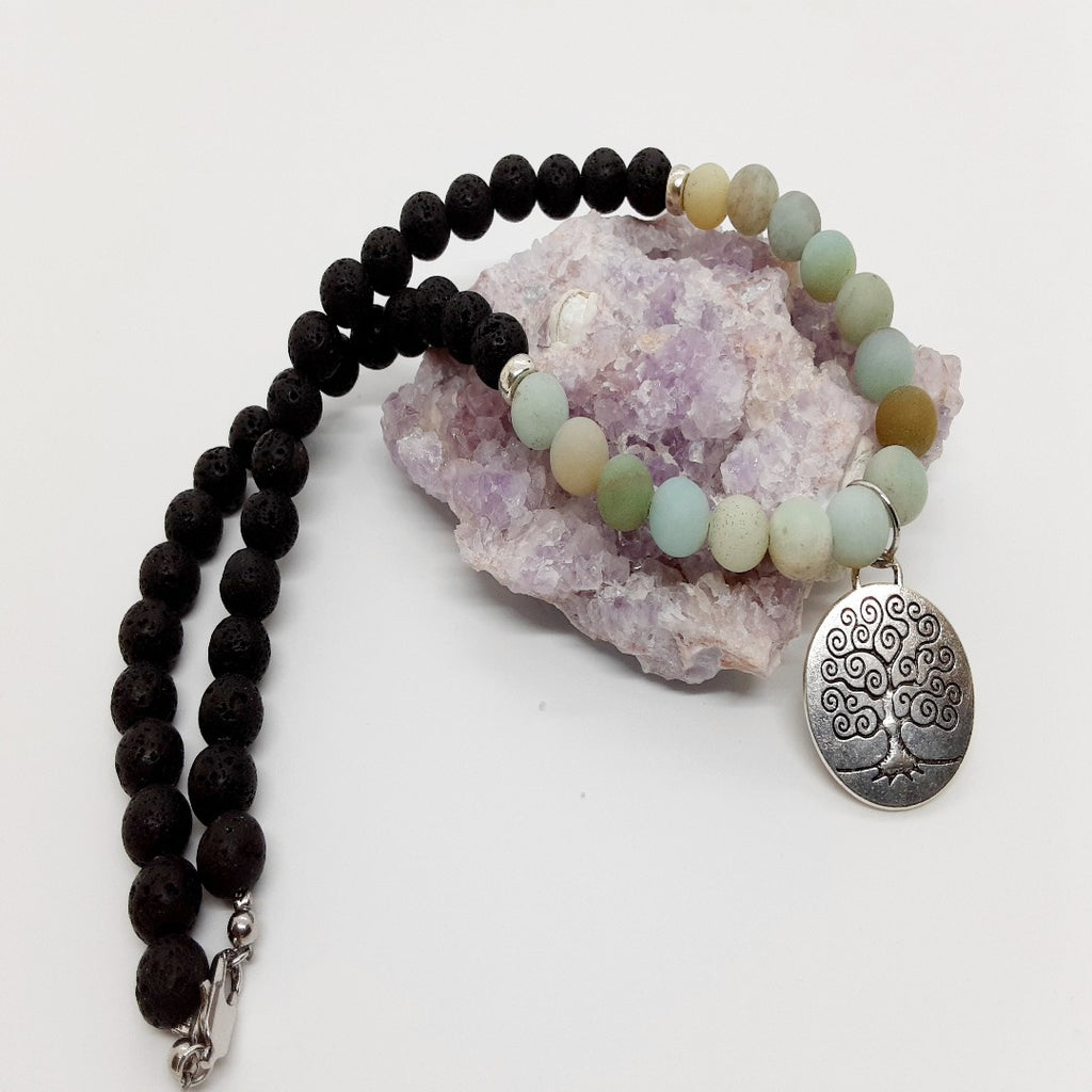 Lava & Amazonite Necklace