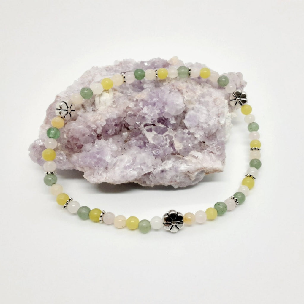 Anklet a colorful mix of stones including quartz, aventurine and silver accents
