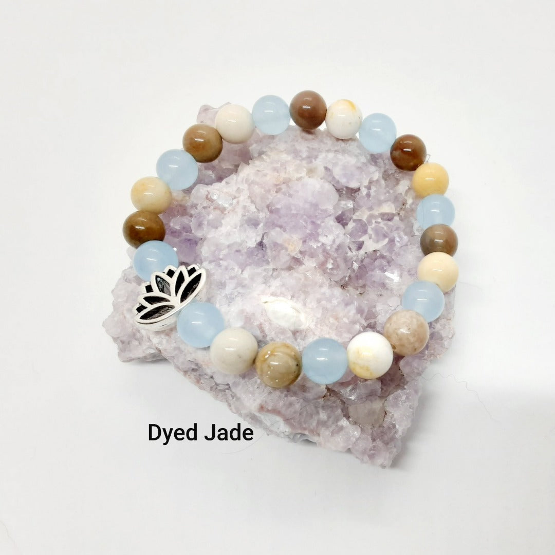 Blue dyed Jade and Aqua Terra Jasper Bracelet