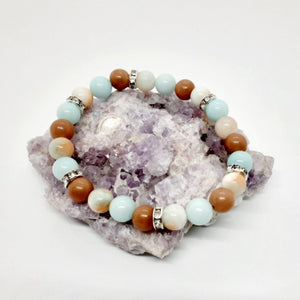 Mixed Stone Bracelet made from a trio of jades, turquoise colored and camel brown and sparkle!