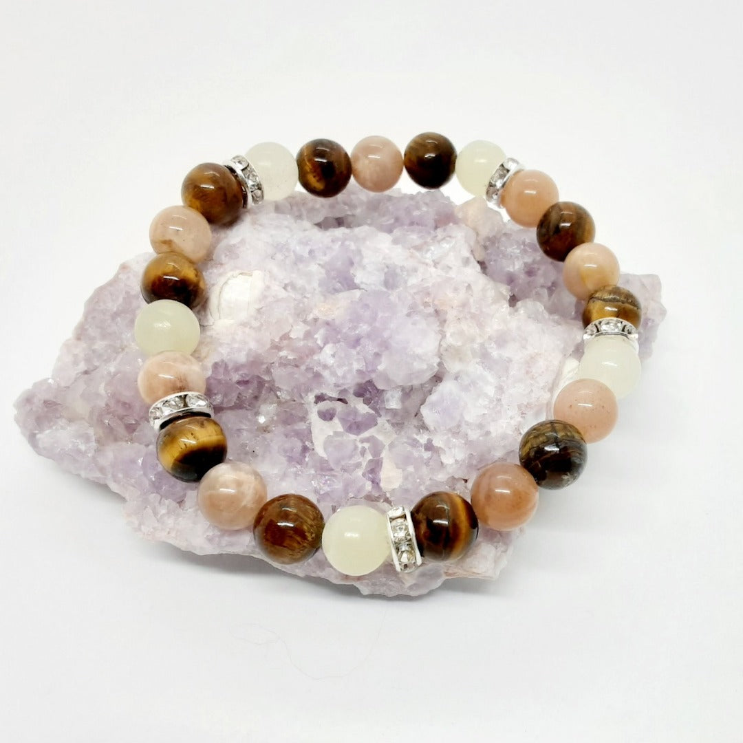 Mixed Stone Bracelet with lovely all genuine stones of tiger eye, natural jade and sunstone along with some sparkle