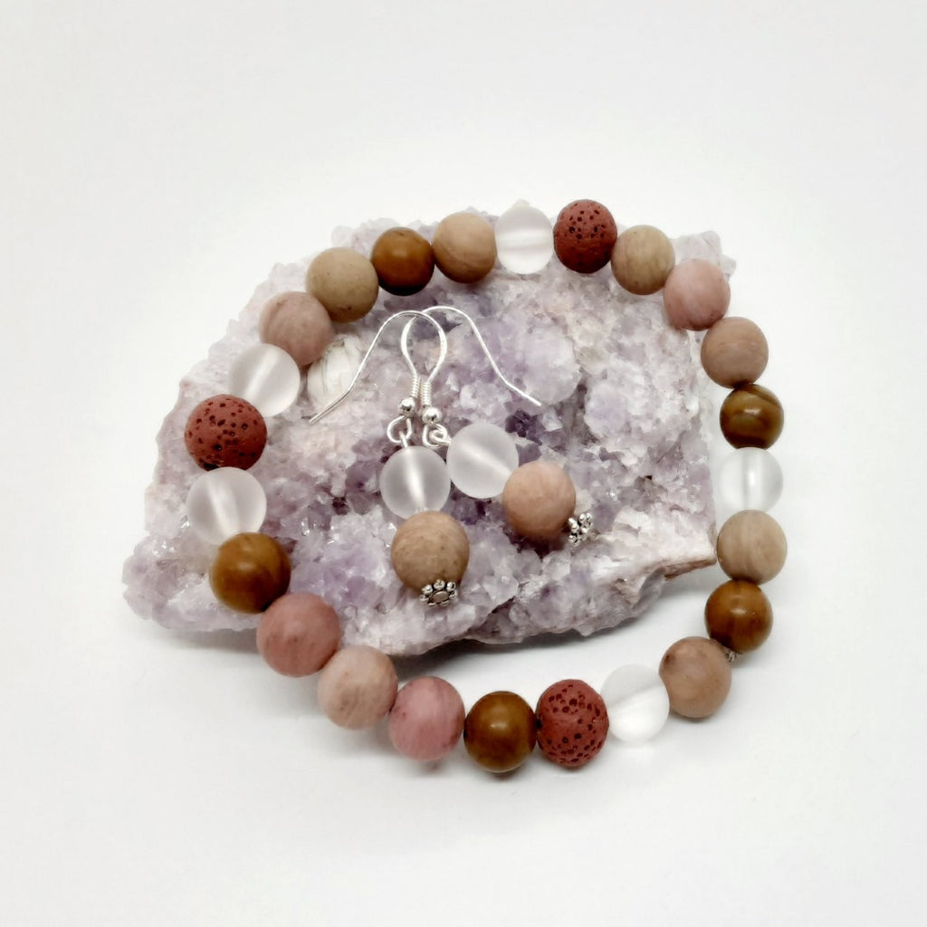 Rhodonite & Quartz Bracelet & Earring Set