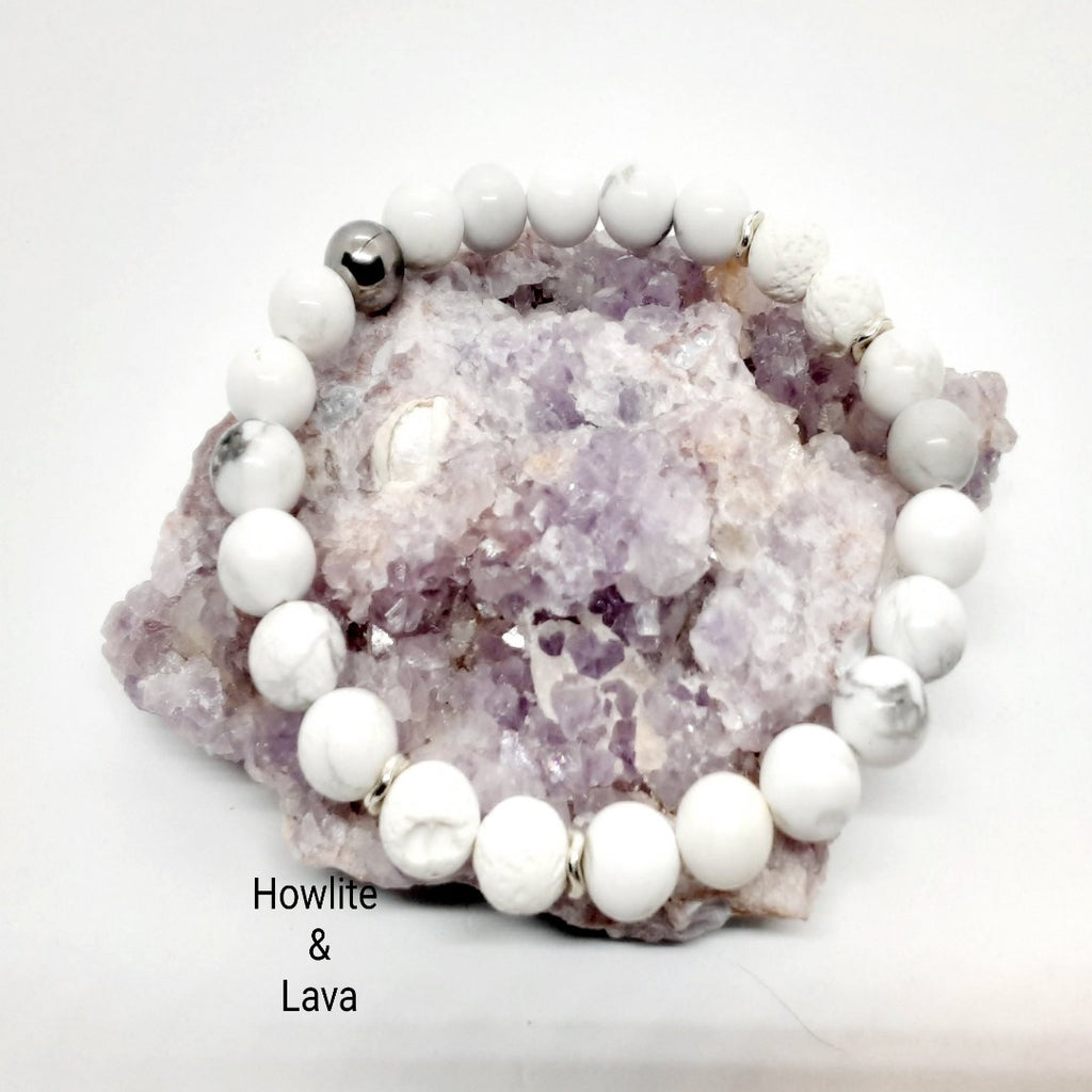 Howlite Bracelet with Lava