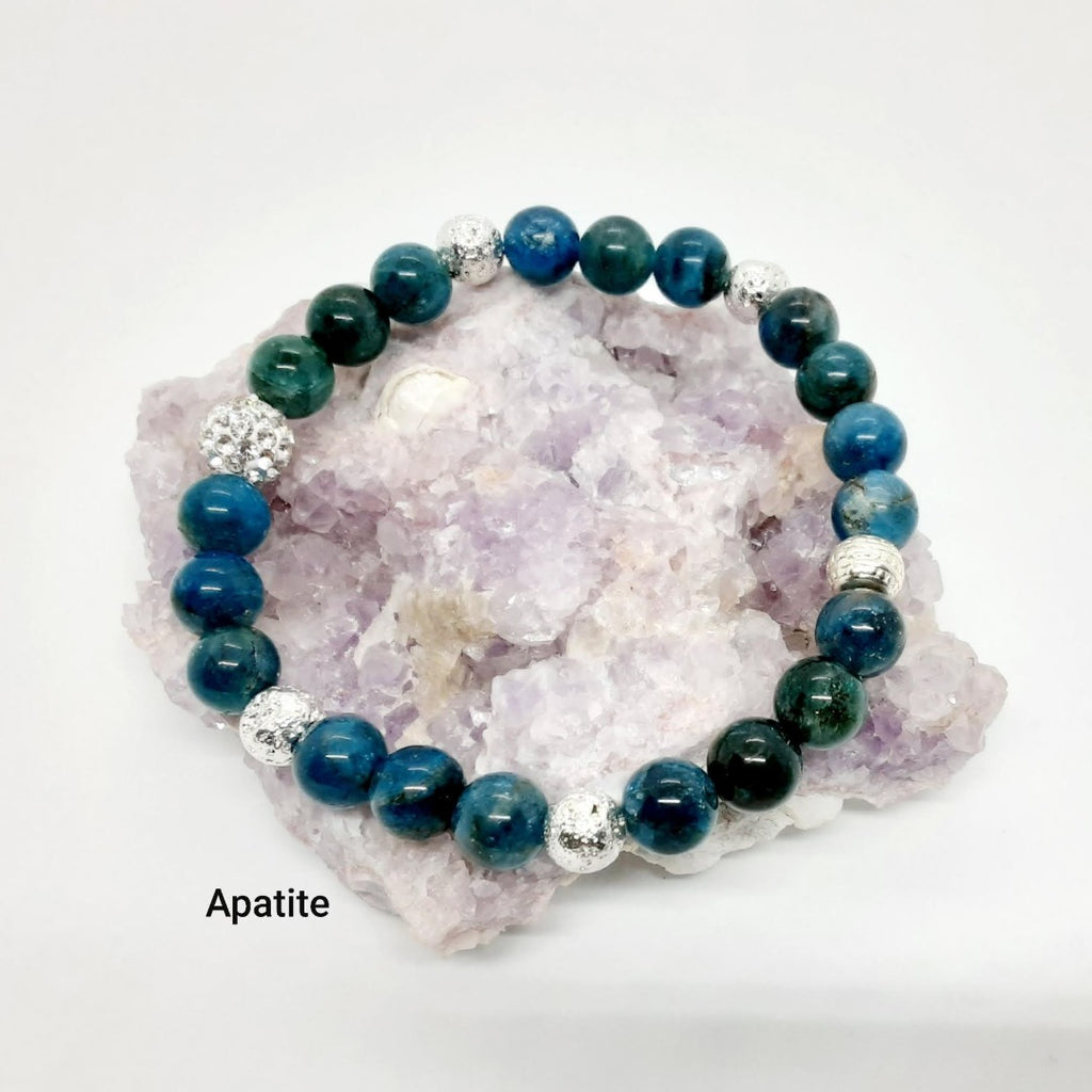 Apatite Bracelet with silver bling and silver electroplated lava beads