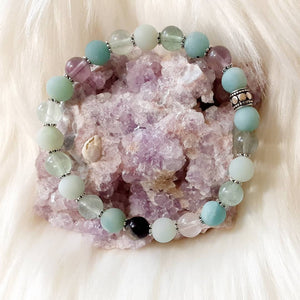Aventurine & Fluorite Bracelet with silver accents