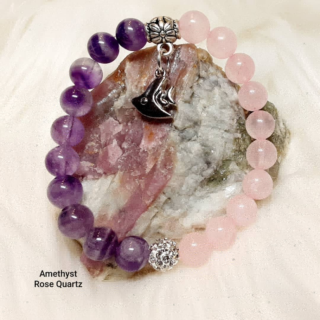 Amethyst & Pink Quartz Bracelet with silver accents and fish charm