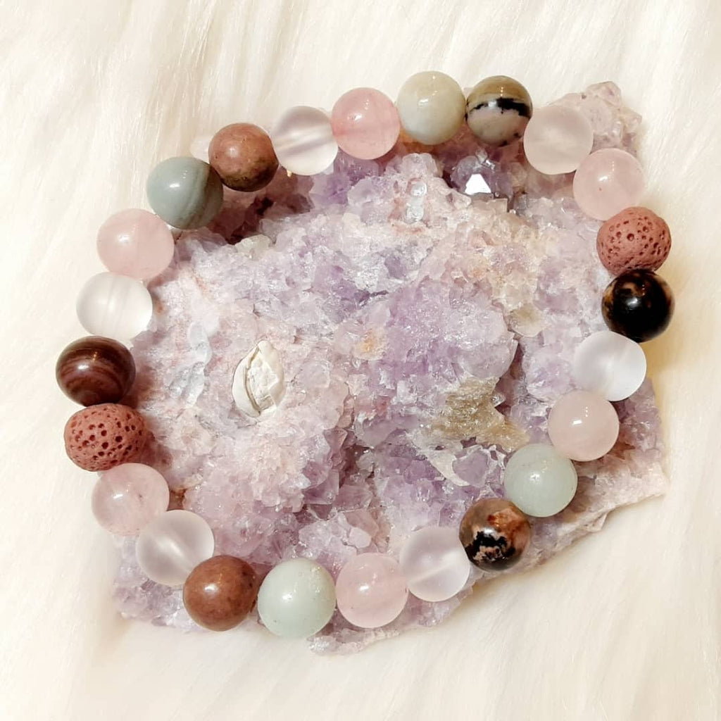 Anxiety, Healing and Stress Relief Bracelet fashioned from Quartz, Amazonite and Rhodonite