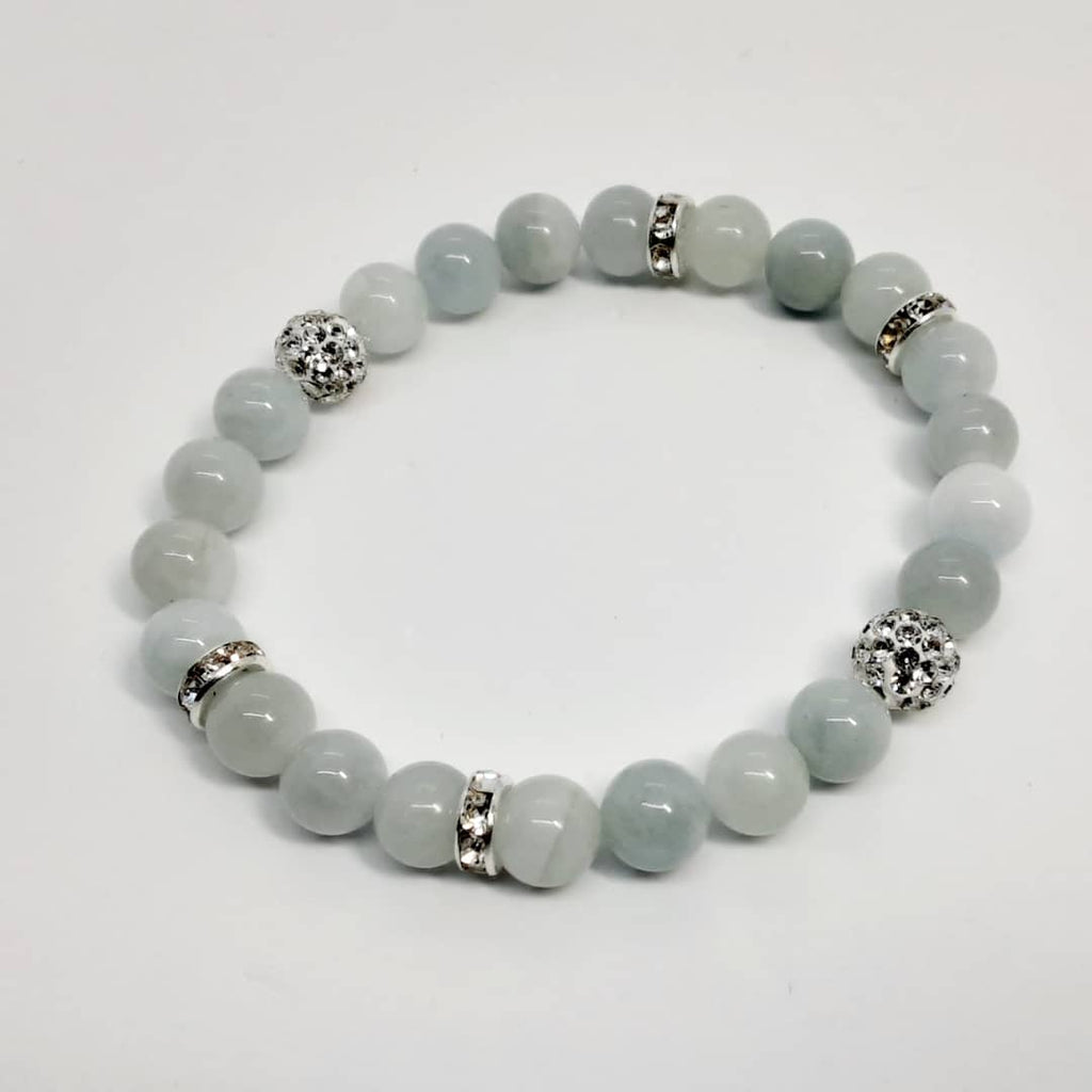 Aquamarine Bracelet with silver accents and bling