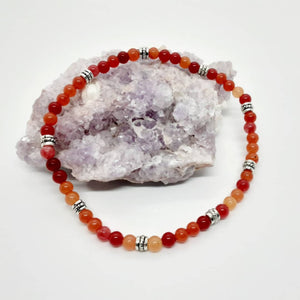 Anklet - a colorful combination of orangey-red jades