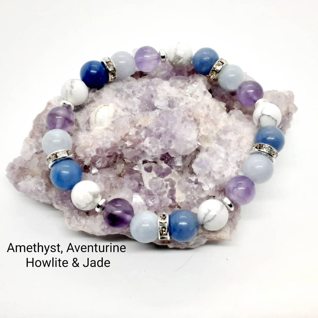 Bracelet with Amethyst,  Aventurine,  Howlite and Jade
