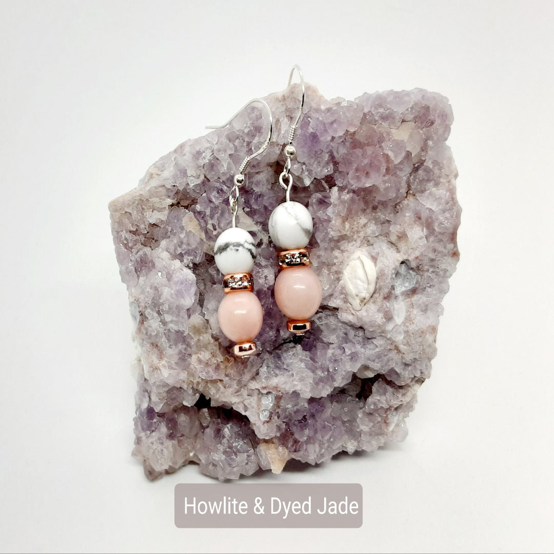 Howlite & Dyed Jade Earrings
