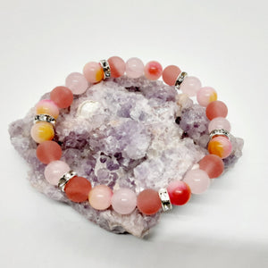 Mixed Stone Bracelet of cherry and rose quartz and a tricolor jade full of sparkle!