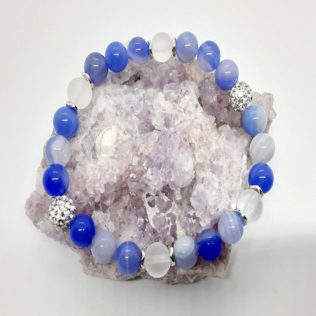 Agate - Cornflower Blue Agate and Frosted Quartz Bracelet