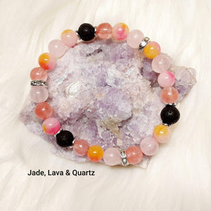 Mixed Stone Bracelet a perfect mix of chameleon dyed Jade, Pink Quartz and Lava Stone Beads
