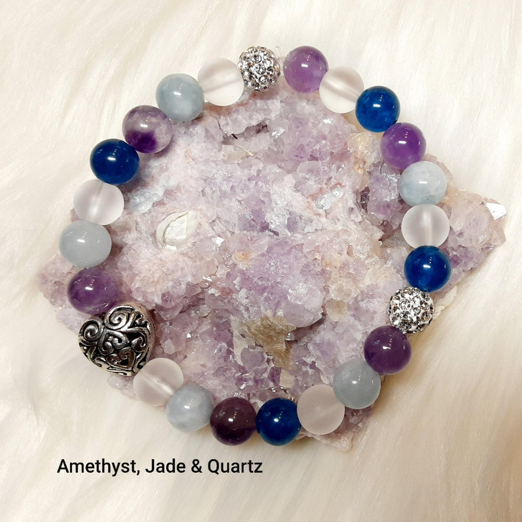Mixed Stone Bracelet, healing and calming, Amethyst - quartz, jade