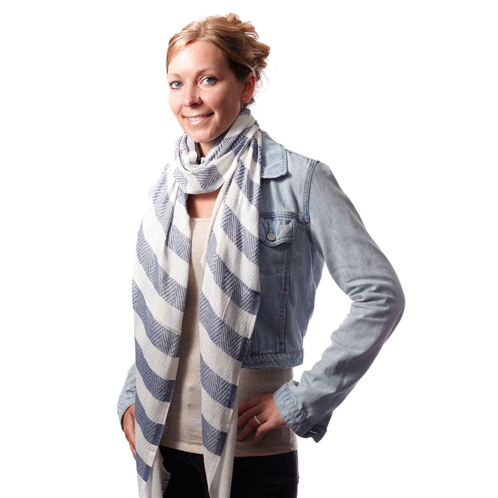 Turkish Linen Stripe Scarf in Denim