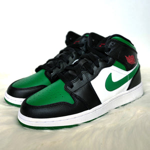 Jordan 1 Mid Green Toe <br> (GS/Bae Sizes)