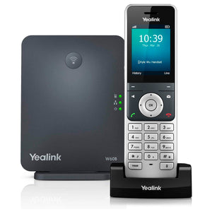 Yealink W60P Cordless DECT IP Phone and Base Station, 2.4-Inch Color Display. 10/100 Ethernet, 802.3af PoE
