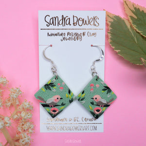 Bird and Poppies Diamond Earrings