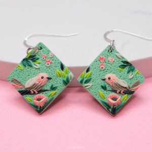 Birds and poppies mint and pink earrings polymer clay jewelry