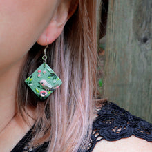 Load image into Gallery viewer, Bird and Poppies Diamond Earrings