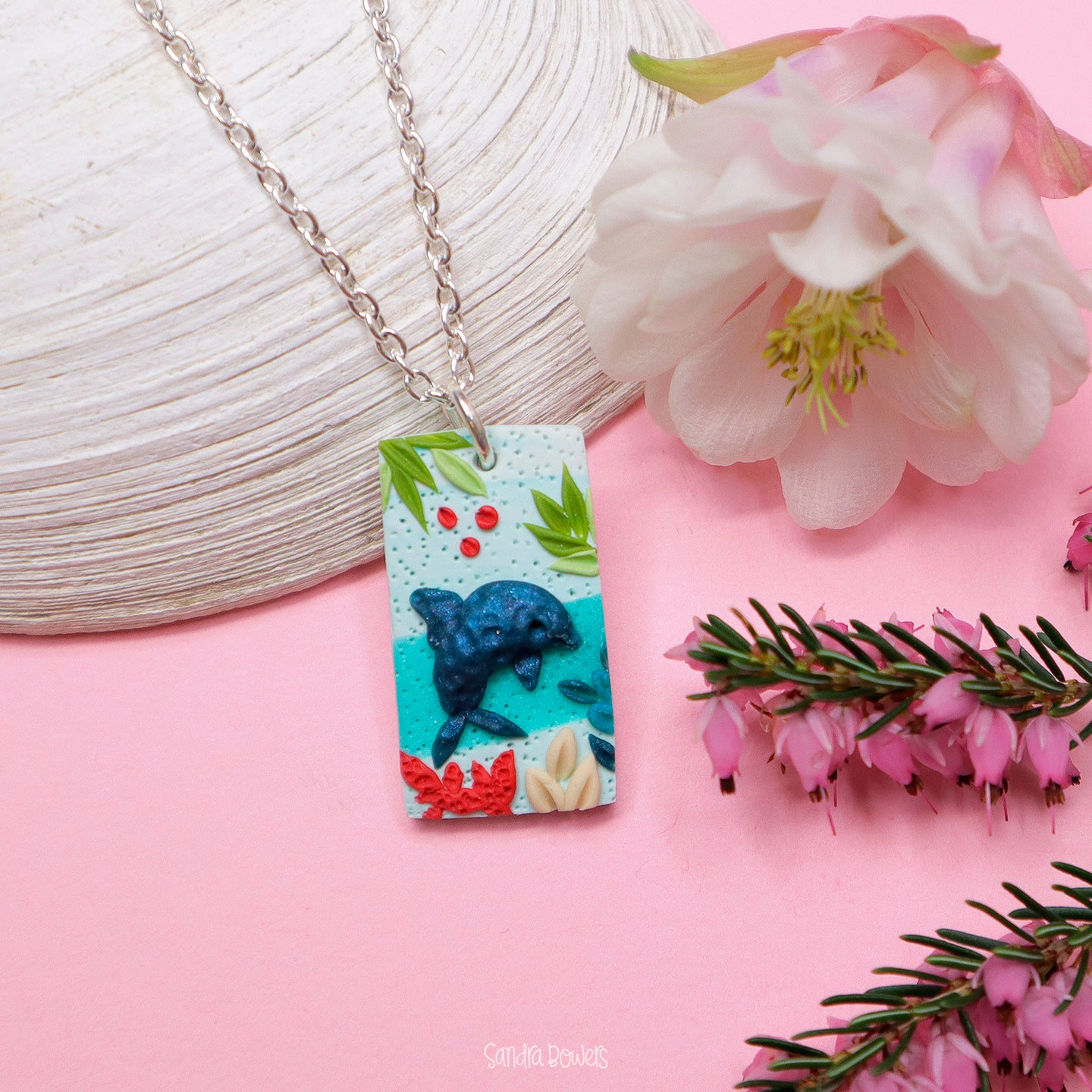 Dolphin-rectangle-pendant-necklace