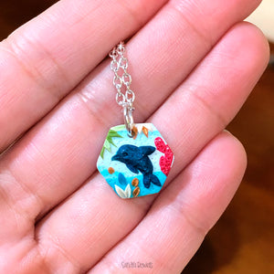 Hexagon Dolphin Pendant