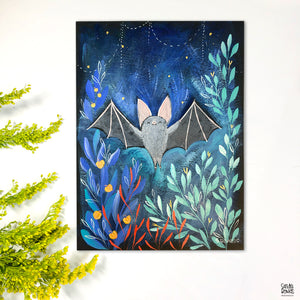 """Hello October"" Bat Painting"