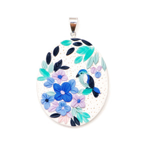 Oval Hydrangea and Bird Pendant