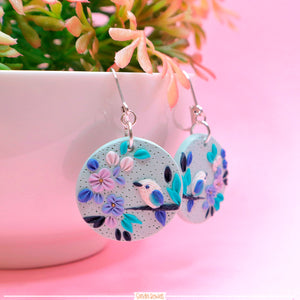 Round Hydrangea and Bird Earrings
