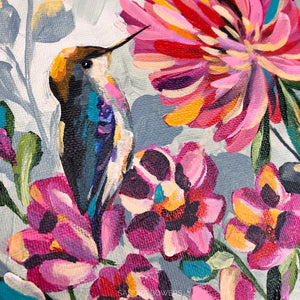 """Hummingbird in the Garden"" Original Painting"