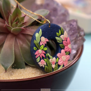 Navy & Pink Florals Donut Necklace